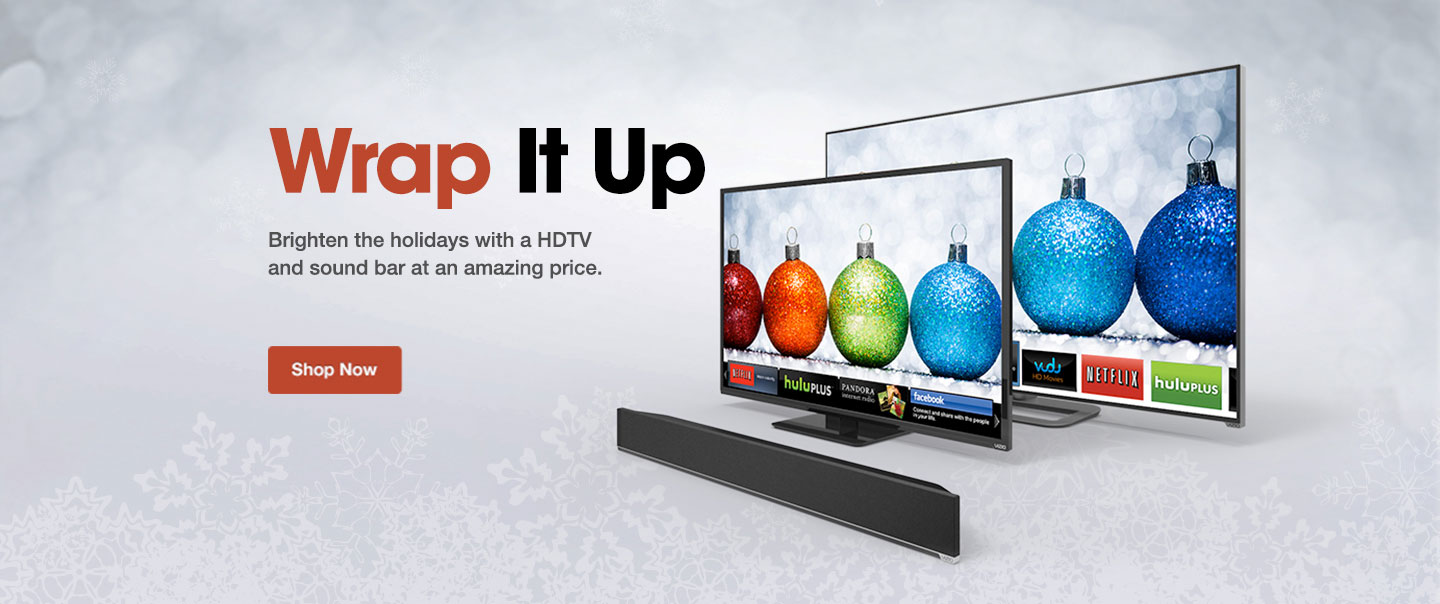 Brighten the holidays with a HDTV and sound bar at an amazing price.
