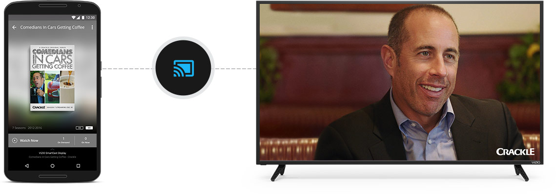 Mobile device casting movie to E-Series display using VIZIO SmartCast App