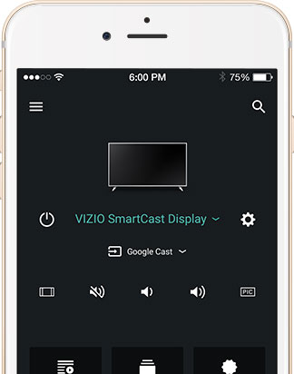 Mobile device facing forward with VIZIO SmartCast App onscreen