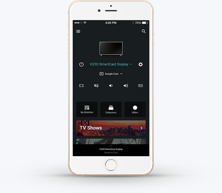 Mobile device facing forward with SmartCast App on screen