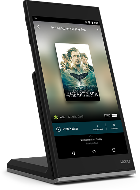 VIZIO SmartCast Tablet Remote on charging dock, facing to the right