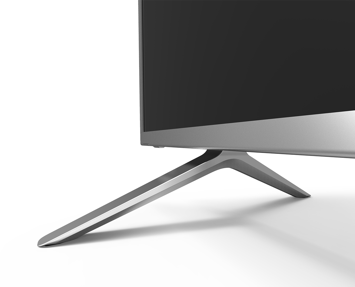 Side view of P-Series display, showing slim profile and legs
