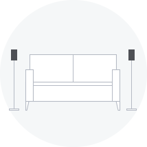 Diagram of speakers standing at each end of a couch