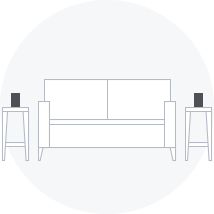 Diagram of speakers resting on end tables