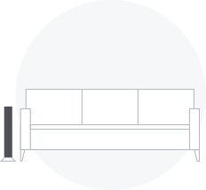Diagram of subwoofer next to a couch