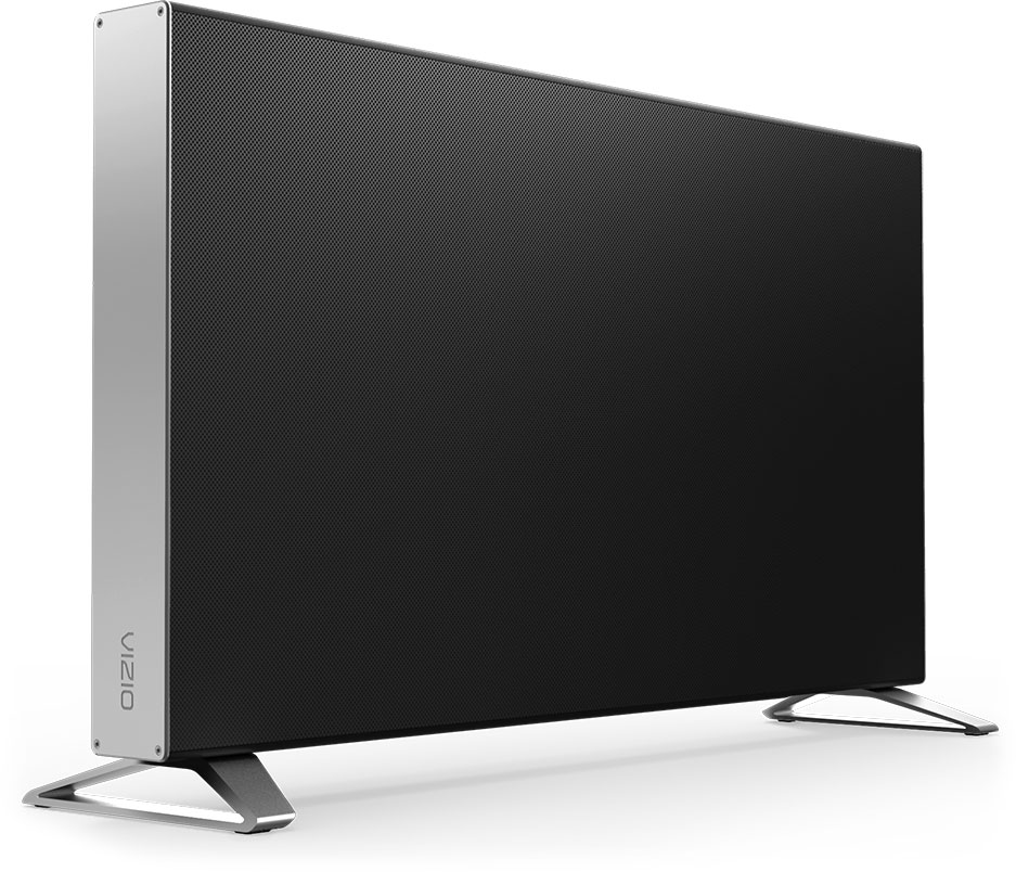 Slim profile subwoofer standing vertical and facing to the right