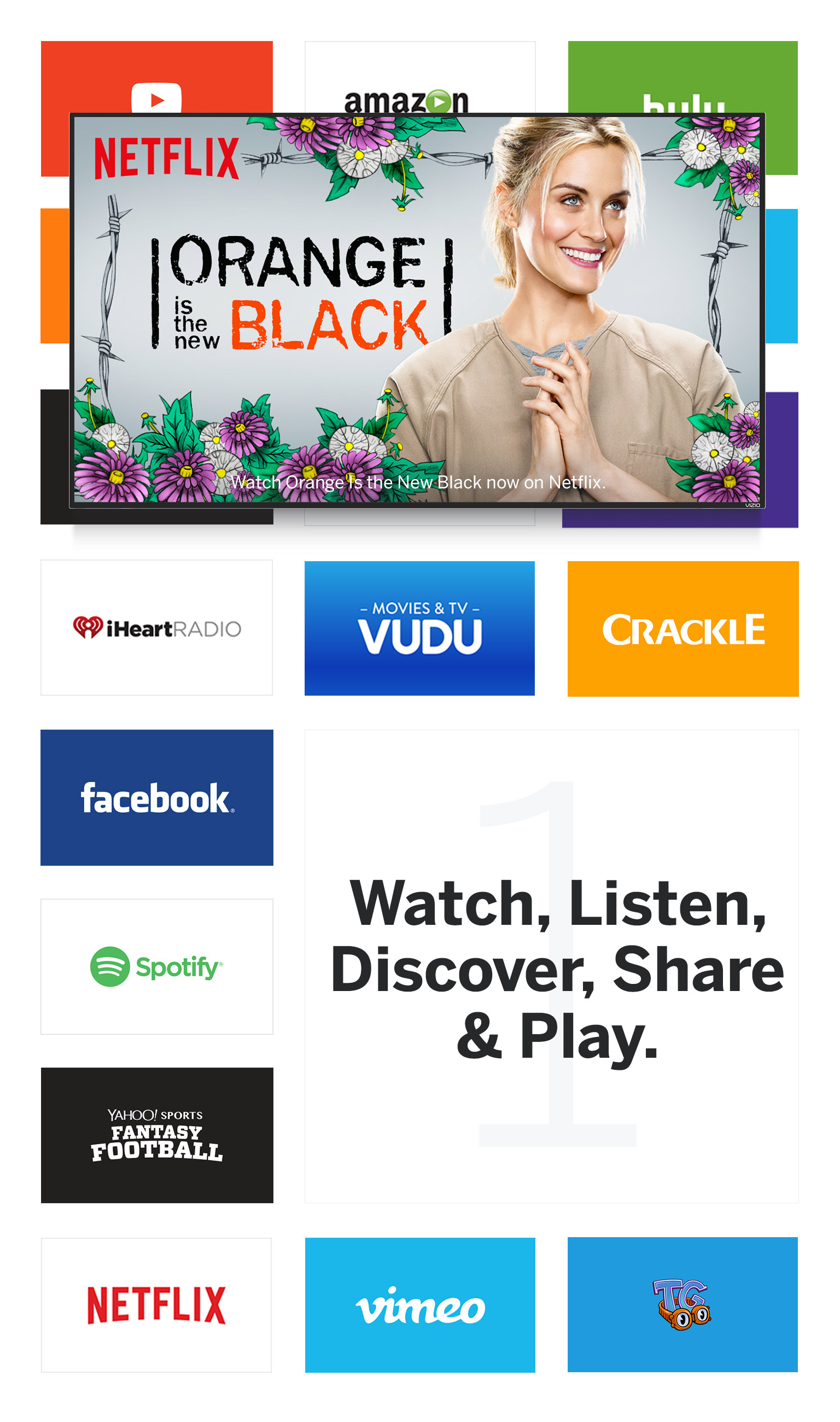 Giant grid of entertainment app icons and still images with a VIZIO Smart TV facing forward