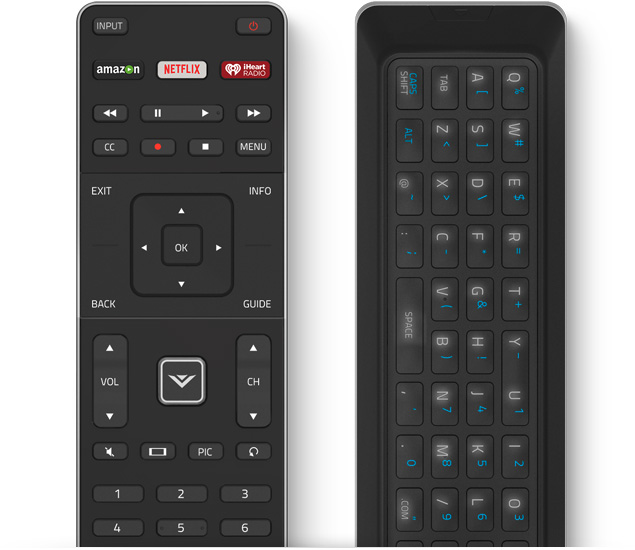 vizio tv back. smart remote vizio tv back